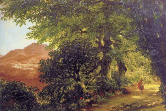 Avenue in Albino near Rome, 1836, Lebedev Mikhail, The Tretyakov Gallery, Moscow paintings to artist of ArtRussia