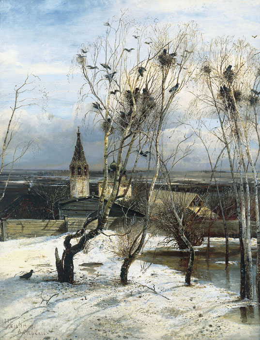 The rooks have come back, again, 1871, Savrasov Alexei, The Tretyakov Gallery, Moscow paintings to artist of ArtRussia