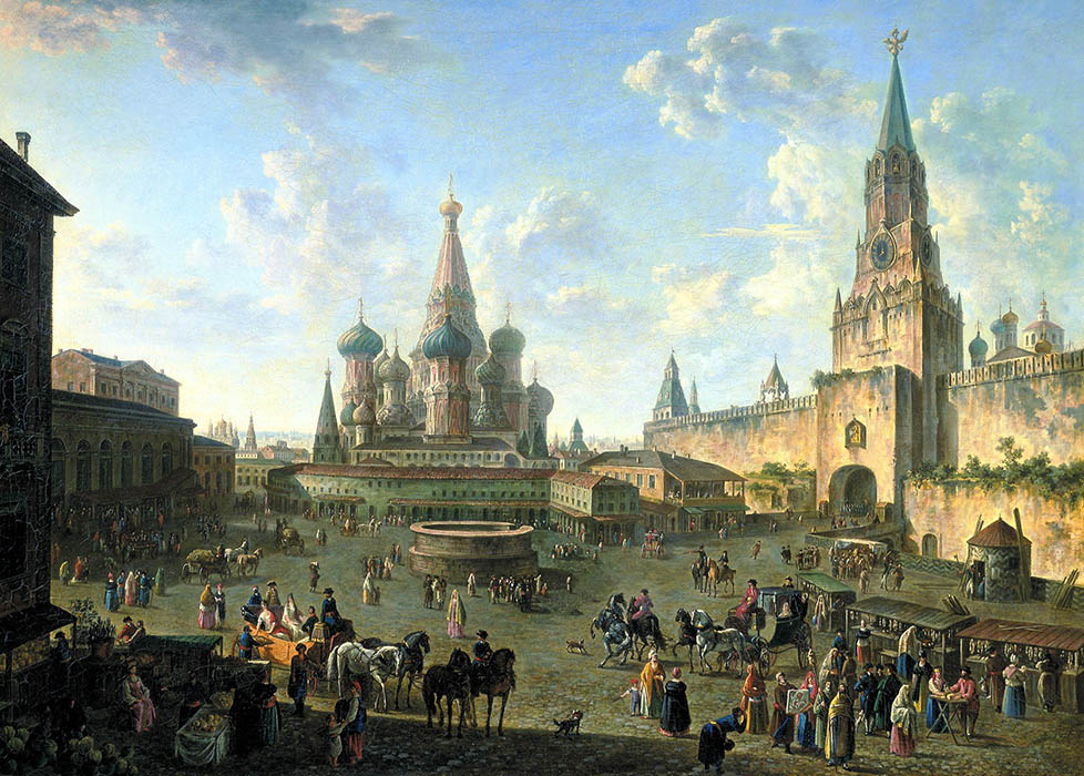Red Square in Moscow, 1801, Alekseev Fedor, The Tretyakov Gallery,  Moscow paintings to artist of ArtRussia