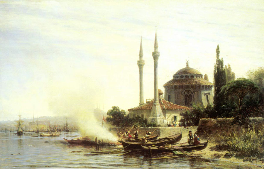 Golden Horn in Istanbul, 1864, Bogolyubov Alexey, The Tretyakov Gallery, Moscow paintings to artist of ArtRussia