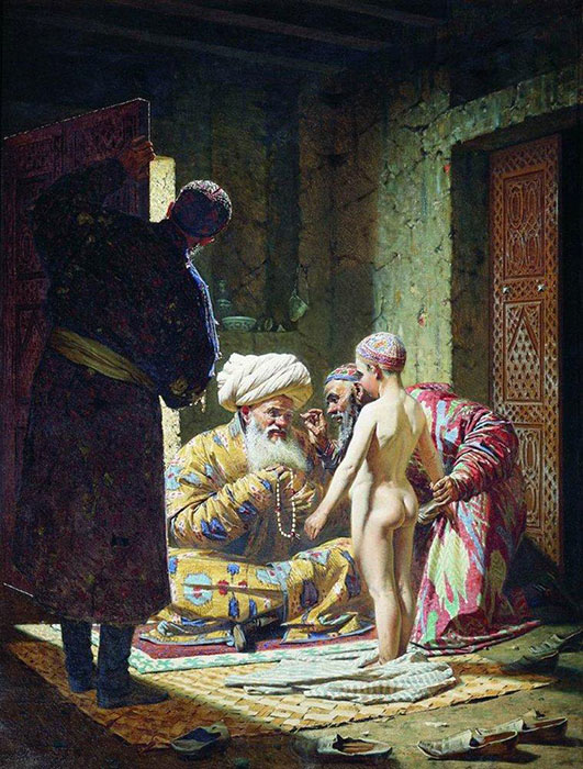 The sale of the slave child, 1872, Vereshchagin Vasily, The Tretyakov Gallery, Moscow paintings to artist of ArtRussia
