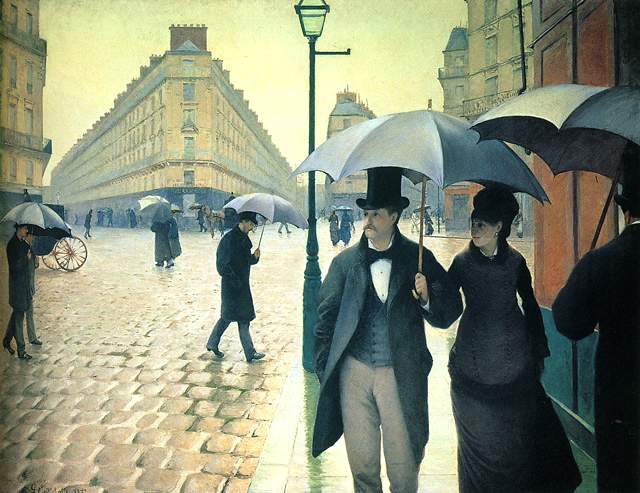 Paris Street, bad weather, 1877, Caillebotte Gustave, Art Institute of Chicago, Illinois paintings to artist of ArtRussia