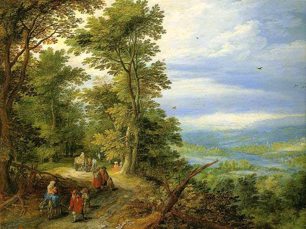 Edge of the Forest (The Flight into Egypt), 1610, Brueghel Jan, Hermitage, St. Petersburg paintings to artist of ArtRussia