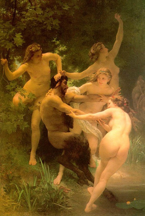 Nymphs and Satyr, 1856, Bouguereau Adolphe-William, Art Institute Sterling & Francine Clark, Williamson paintings to artist of ArtRussia