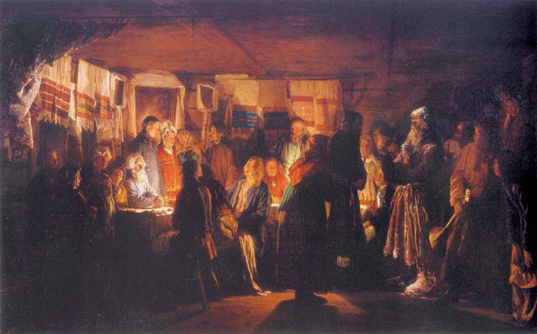 A Sorcerer Arriving at a Peasant Wedding, 1875, Maximov Vasily, The Tretyakov Gallery, Moscow paintings to artist of ArtRussia
