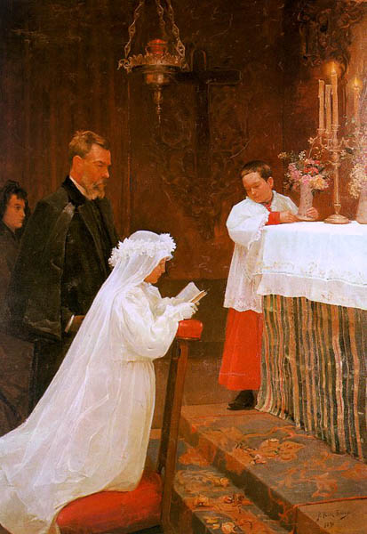 First communion, 1896, Picasso Pablo, The Picasso Museum, Barcelona paintings to artist of ArtRussia