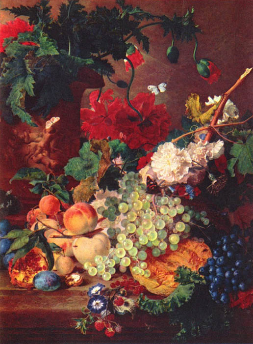 Still Life with Flowers and Fruit, 1728, Huysum Jan van, Private collection paintings to artist of ArtRussia
