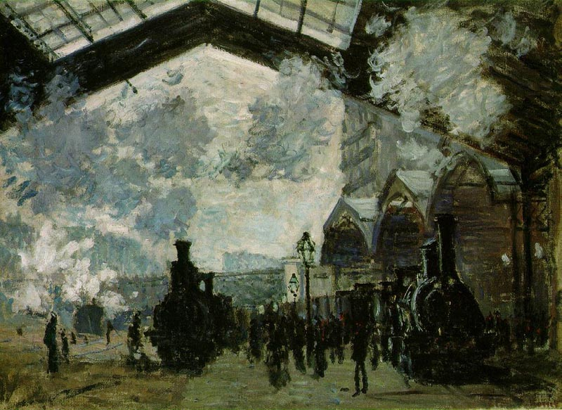 Train Station at Saint-Lazare, 1877, Monet Claude, National Gallery, London paintings to artist of ArtRussia