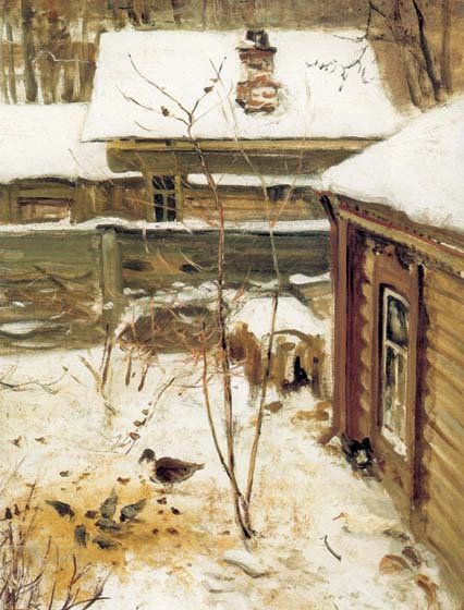 Courtyard. Winter, 1870, Savrasov Alexei, The Tretyakov Gallery, Moscow paintings to artist of ArtRussia