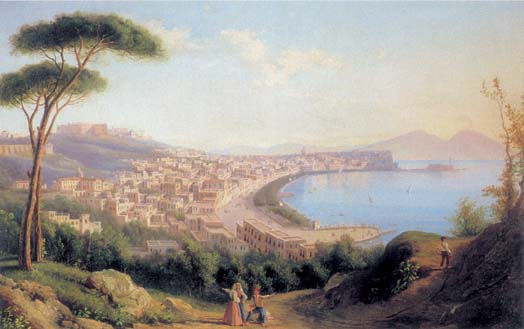 View of Naples from road in Pozilippo, 1829, Shchedrin Sylvester, The Ryazan Regional Museum paintings to artist of ArtRussia
