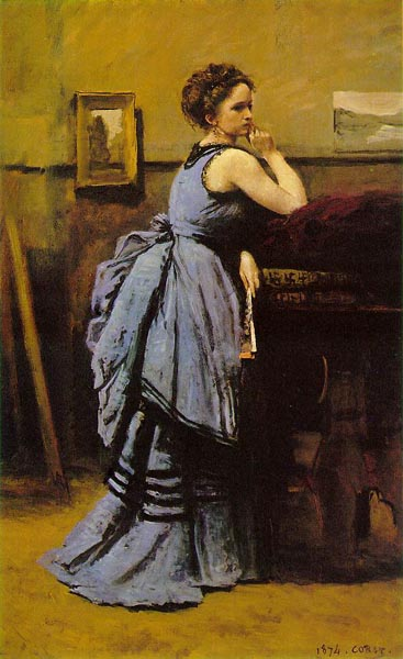 Lady in Blue, 1874, Corot Jean-Baptiste-Camille, Louvre, Paris paintings to artist of ArtRussia