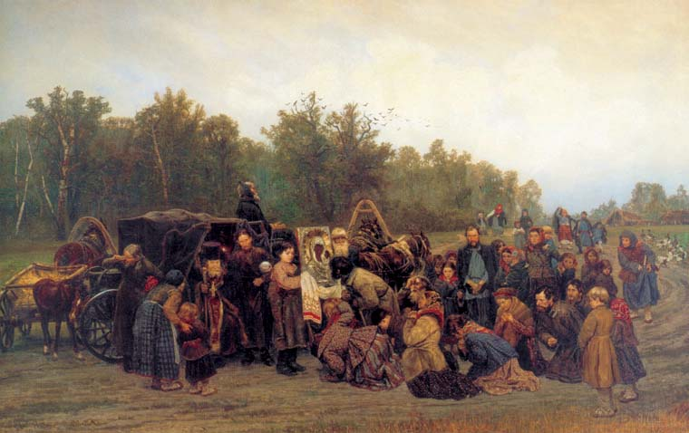 Meeting of the icon, 1878, Savitsky Konstantin, The Tretyakov Gallery, Moscow paintings to artist of ArtRussia