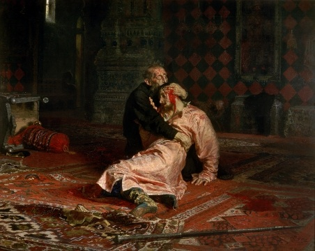 Ivan the Terrible and his son Ivan on 16 November, 1581, 1885, Repin Ilya, The Tretyakov Gallery, Moscow paintings to artist of ArtRussia