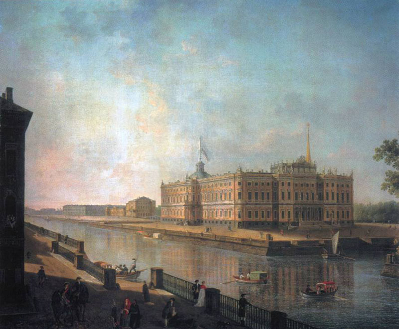 View of the Mikhailovsky Castle in St. Petersburg by the Fontanka, 1800, Alekseev Fedor, The Russian Museum, St.Petersburg paintings to artist of ArtRussia