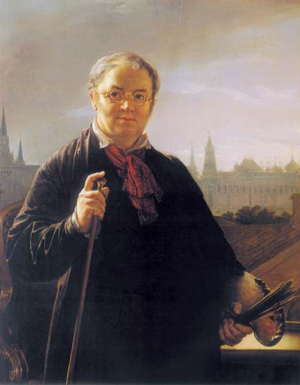 Self-portrait against a background of a window, with a view on the Kremlin, 1846, Tropinin Vasily, The Tretyakov Gallery paintings to artist of ArtRussia