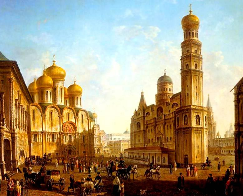 Cathedral Square in the Moscow Kremlin, Начало XIX века, Alekseev Fedor, The Tretyakov Gallery, Moscow paintings to artist of ArtRussia