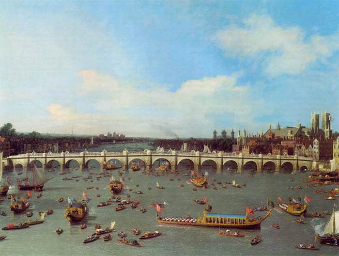 Westminster Bridge, London, with the procession of the Lord Mayor on the Thames, 1747, Canaletto (Canal) Giovanni Antonio, Center for British Art, New Haven, Connecticut paintings to artist of ArtRussia