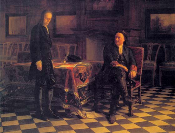 Peter the Great Interrogating Tsarevich Alexei at Peterhof, 1871, Ge Nikolai, The Tretyakov Gallery, Moscow paintings to artist of ArtRussia