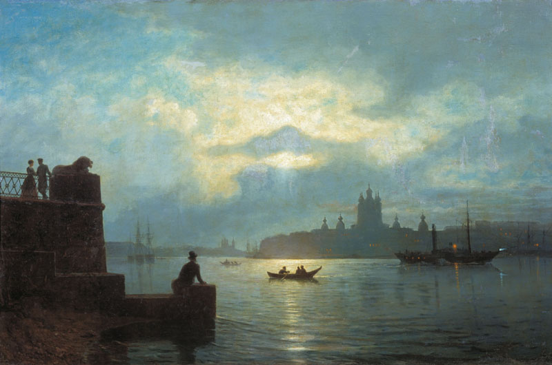 Moonlit night on the Neva River (View from the yacht in the Smolny), 1898, Lagorio Lev, Primorye Regional Art Gallery, Vladivostok paintings to artist of ArtRussia