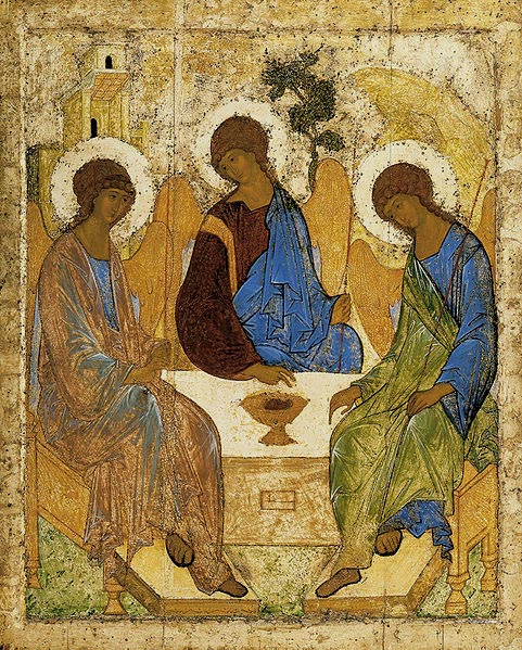 Old Testament Trinity, 1427, Rublev Andrei, The Tretyakov Gallery, Moscow paintings to artist of ArtRussia