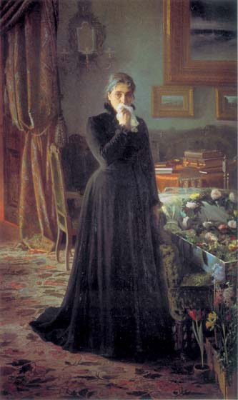 Inconsolable grief, 1884, Kramskoy Ivan, The Tretyakov Gallery, Moscow paintings to artist of ArtRussia