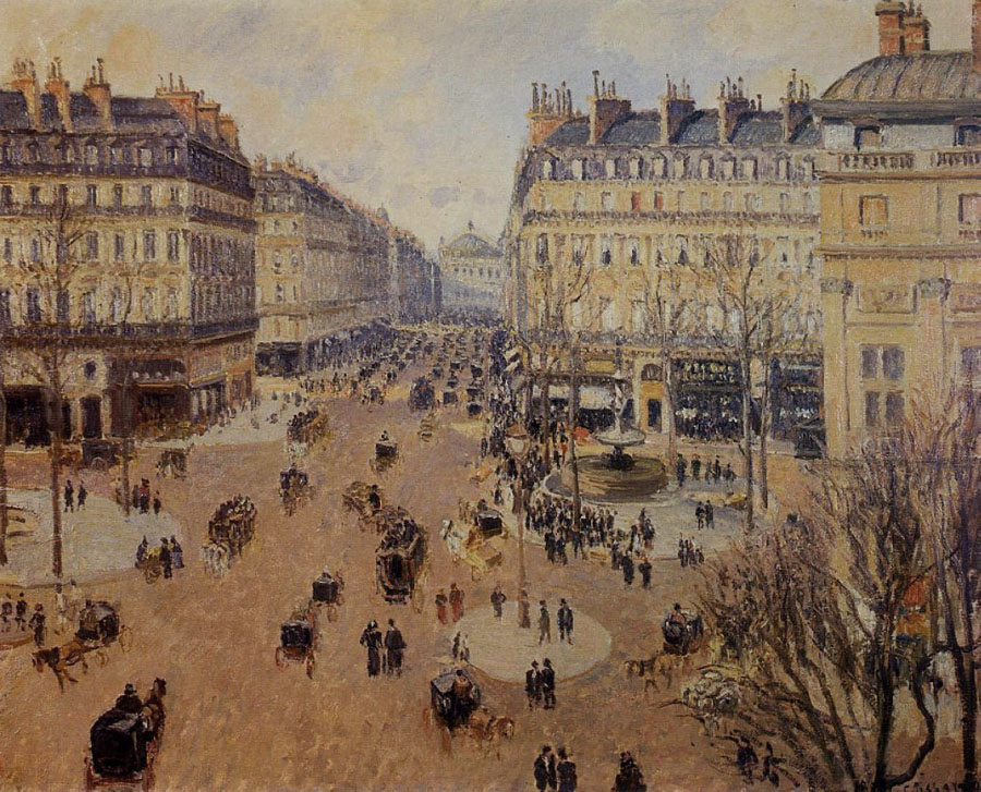 Avenue de L'Opera, Paris, 1898, Pissarro Camille, Pushkin Museum, Moscow, Russia paintings to artist of ArtRussia