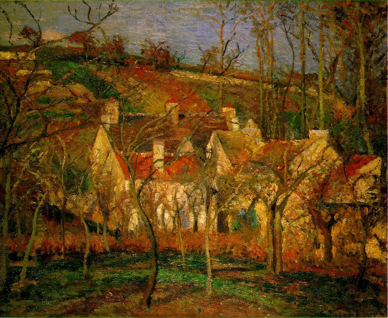 Red roofs, 1877, Pissarro Camille, Musee d'Orsay, Paris paintings to artist of ArtRussia