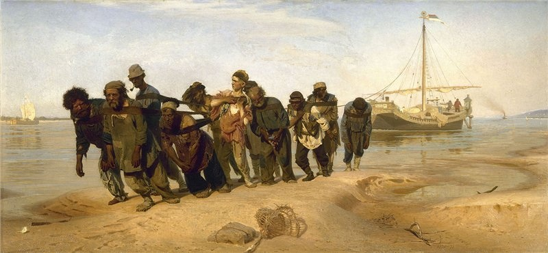 Barge Haulers on the Volga, 1873, Repin Ilya, The Russian Museum, St.Petersburg paintings to artist of ArtRussia