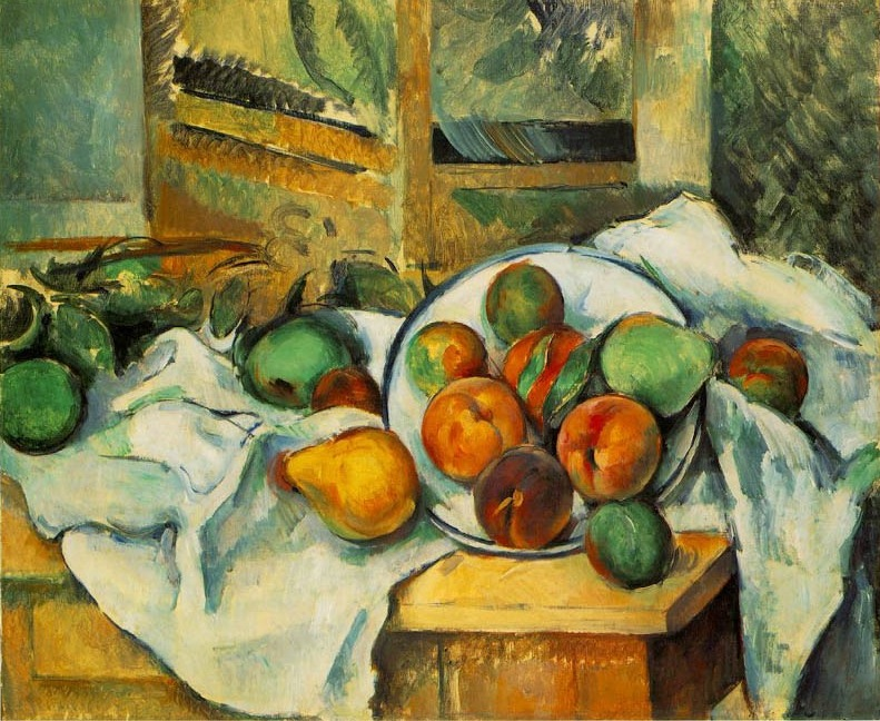 Table, doily and fruits, 1890, Cezanne Paul, Barnes Foundation, Merion, Pennsylvania paintings to artist of ArtRussia