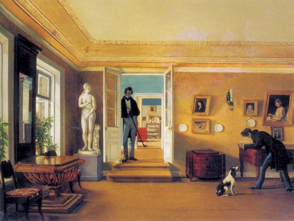 Indoors, 1828, Zelencov Capiton, The Tretyakov Gallery, Moscow paintings to artist of ArtRussia