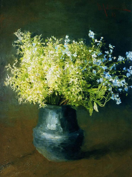 Wild violets and forget-me, 1889, Levitan Isaac, The Tretyakov Gallery, Moscow paintings to artist of ArtRussia
