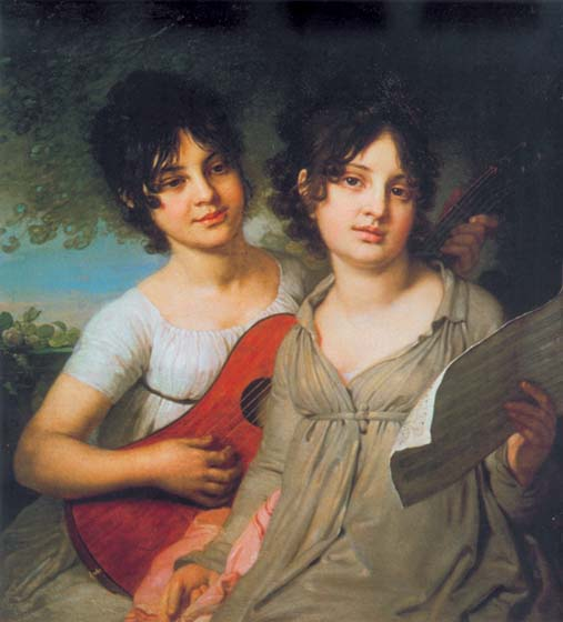Portrait of the sisters A.G. and V.G. Gagarina, 1802, Borovikovsky Vladimir, The Tretyakov Gallery, Moscow paintings to artist of ArtRussia
