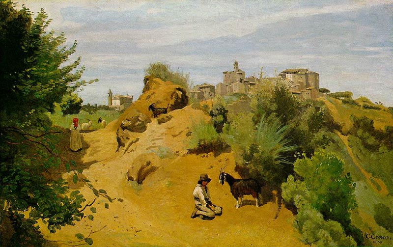 Herd of goats, 1843, Corot Jean-Baptiste-Camille, Phillips Collection, Washington paintings to artist of ArtRussia