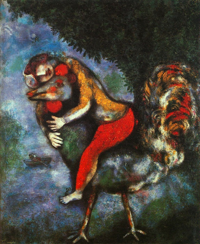 The Rooster, 1929, Chagall Marc, Thyssen-Bornemisza Museum, Madrid, Spain paintings to artist of ArtRussia