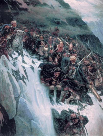 Suvorov`s crossing through the Alpes in 1799, 1899, Surikov Vasily, The Russian Museum paintings to artist of ArtRussia