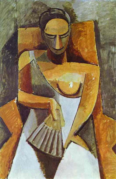 Woman with a Fan, 1908, Picasso Pablo, Hermitage, St. Petersburg paintings to artist of ArtRussia