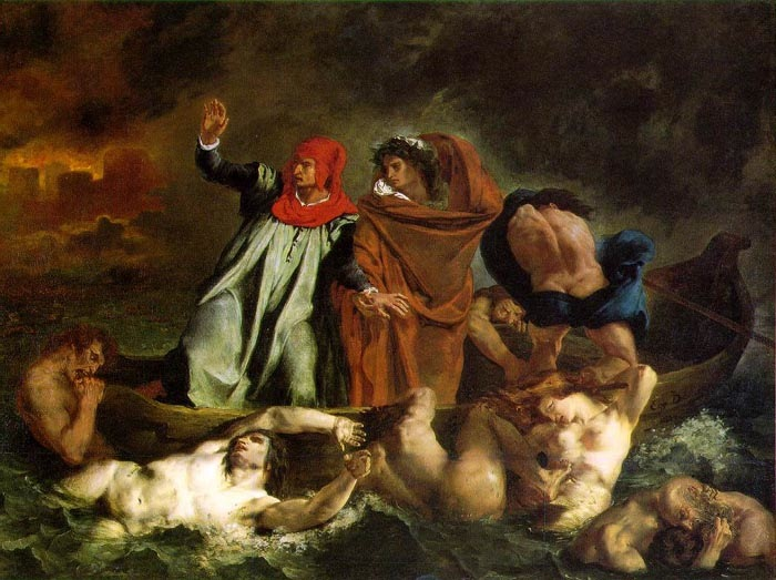 Dante and Virgil, 1822, Delacroix Eugène, Louvre, Paris paintings to artist of ArtRussia