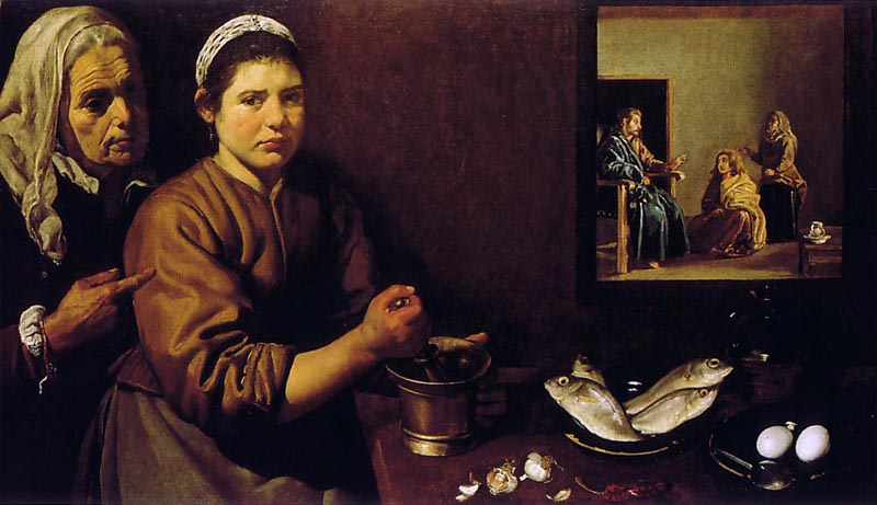 Christ in the House of Martha and Mary, 1618, Velazquez Diego, National Gallery, London paintings to artist of ArtRussia