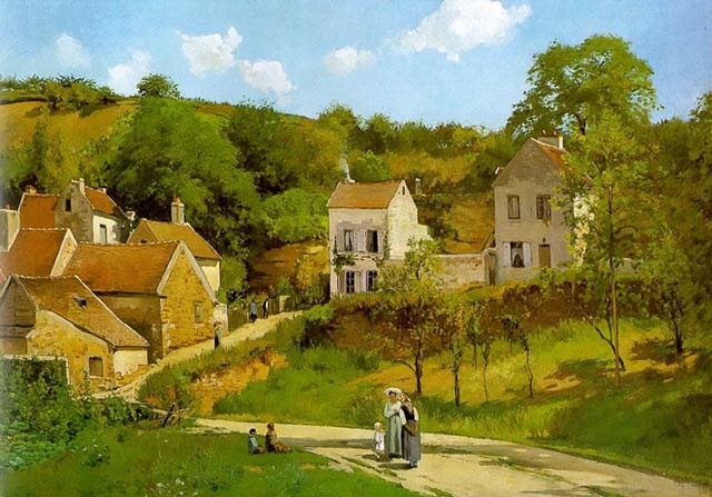 L'Hermitage At Pontoise, 1867, Pissarro Camille, Guggenheim Museum, New York paintings to artist of ArtRussia