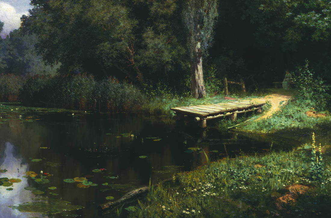 The Overgrown Pond, 1880, Polenov Vasily, The Russian Museum, St.Petersburg paintings to artist of ArtRussia