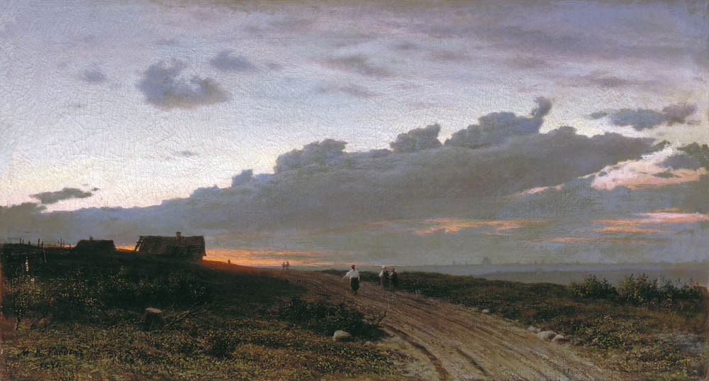 Evening view of the village. Orel province, 1874, Clodt Mikhail, Far Eastern Art Museum, Vladivostok paintings to artist of ArtRussia