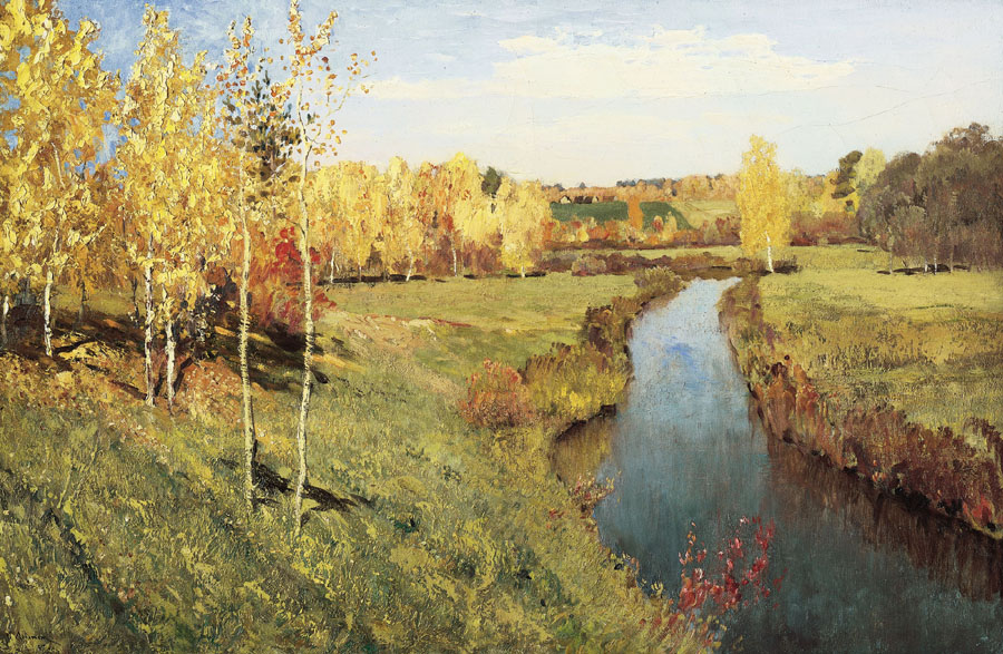 Golden autumn, 1895, Levitan Isaac, The Tretyakov Gallery, Moscow paintings to artist of ArtRussia