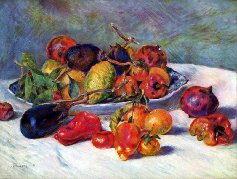 Still life with southern fruits, 1881, Renoir Pierre-Auguste, The Art Institute of Chicago paintings to artist of ArtRussia