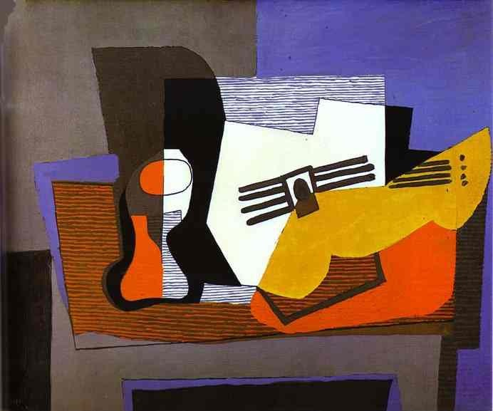 Still Life with Guitar, 1921, Picasso Pablo, Gallery Rosengart. Lucerne paintings to artist of ArtRussia