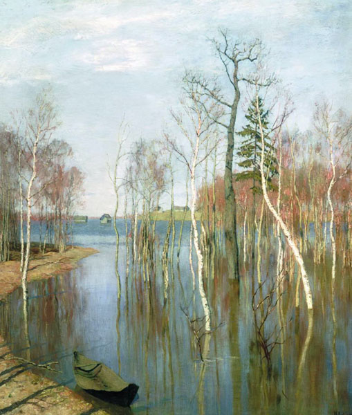 Spring - big water, 1987, Levitan Isaac, The Tretyakov Gallery, Moscow paintings to artist of ArtRussia