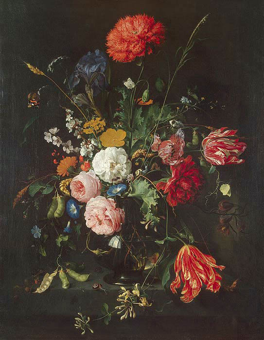Flowers in the vase, 1684, Heem Jan Davidsz de, Hermitage, St. Petersburg paintings to artist of ArtRussia
