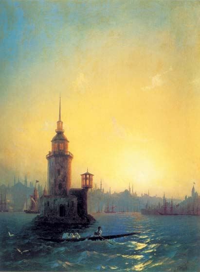 View of the Leander Tower in Constantinople, 1848, Aivazovskiy Ivan, The Tretyakov Gallery paintings to artist of ArtRussia