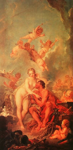 The Visit of Venus to Vulcan, 1754, Boucher Francois, Wallace Collection. London paintings to artist of ArtRussia