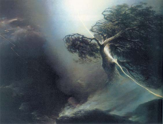 The oak shattered by a lightning. Allegory to the death of artist`s wife, 1842, Vorobiev Maxim, The Tretyakov Gallery, Moscow paintings to artist of ArtRussia