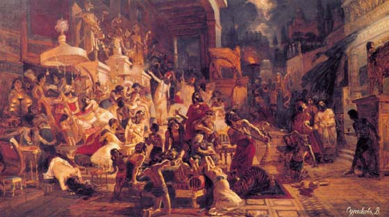 Valtasar`s feast, 1874, Surikov Vasily, The Russian Museum paintings to artist of ArtRussia